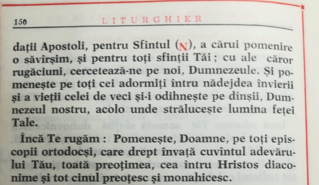 "Corectitudinea pomenirii ""tuturor episcopilor ortodocși"""