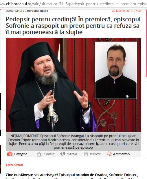 """Părintele Cosmin Tripon: """"Canoanele pe care le-au aplicat bulgarii papei sunt obligatorii și pentru noi"""""""