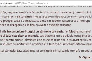 Ieromonahul Lavrentie Srăchinaru își asumă infracțiunea de fals și uz de fals în cazul monahilor de la Paltin?!!