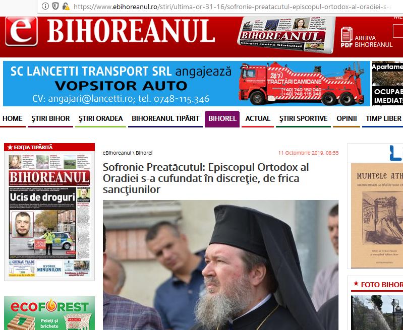 Presa bihoreană: Episcopul Sofronie s-a cufundat în discreție, de frica sancțiunilor