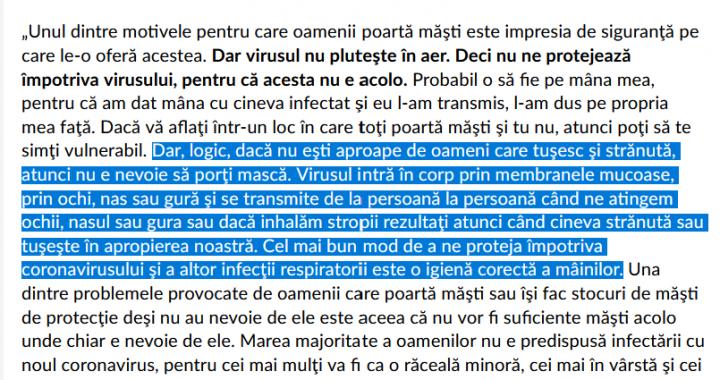 Ministrului Vela: Strănutul și nepurtarea măștii în public pot fi fapte penale numai dacă îmbolnăvesc pe cineva